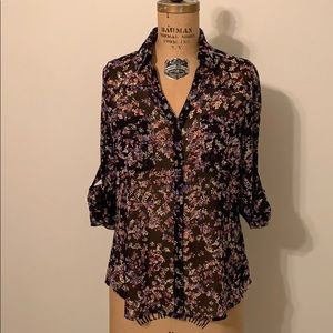 Express Portofino Shirt Blouse Floral Sheer XS